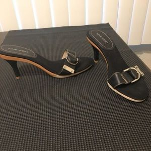 (NWDOUGAN) Black leather buckle slides